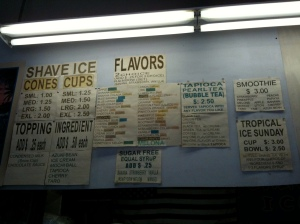 A standard flavor menu